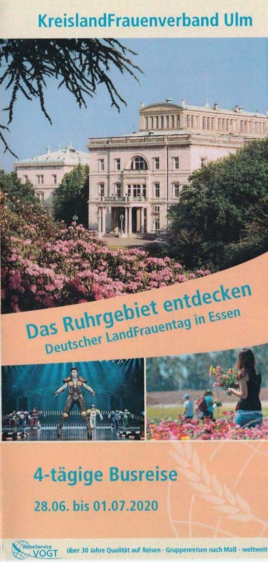 Bildungsreise 2020 zum LandFrauentag in Essen 28.06. – 01.07.20